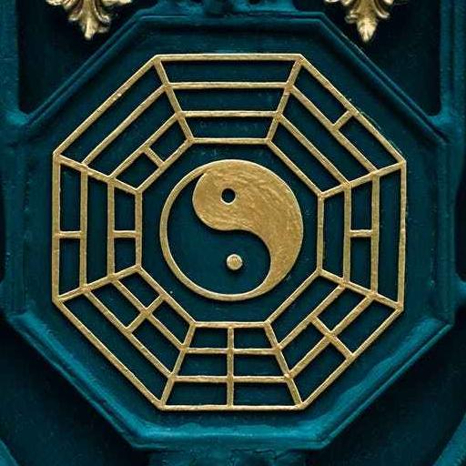 blue and brown yin yang illustration